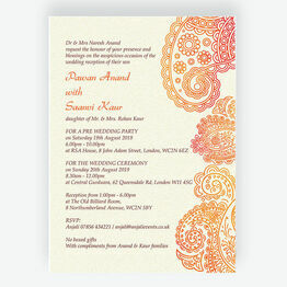 Orange & Red Paisley Indian / Asian Wedding Invitation