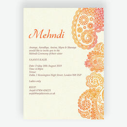 Orange & Red Paisley Mehndi / Baraat Card