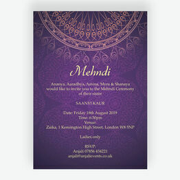 Purple & Gold Mehndi / Baraat Card