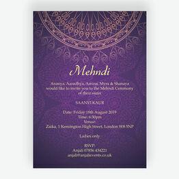 Purple & Gold Mehndi / Baraat Card