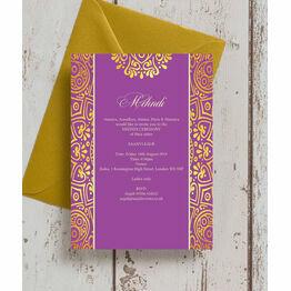 Purple Mandala Mehndi / Baraat Card