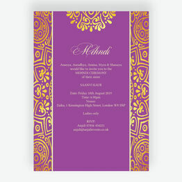 Purple Mandala Mehndi / Baraat Card