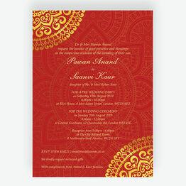 Red & Gold Mandala Indian / Asian Wedding Invitation