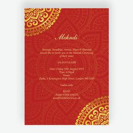 Red & Gold Mandala Mehndi / Baraat Card