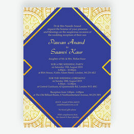 Royal Blue & Gold Indian / Asian Wedding Invitation