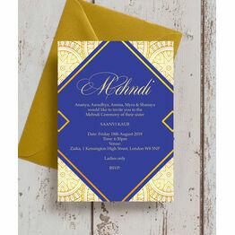 Royal Blue & Gold Mehndi / Baraat Card