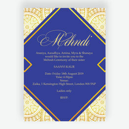 Royal Blue & Gold Mehndi / Baraat Card