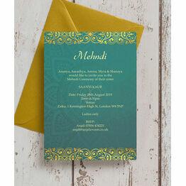 Teal & Gold Indian Mehndi / Baraat Card
