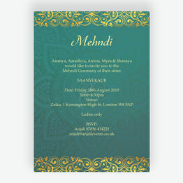 Teal & Gold Indian Mehndi / Baraat Card