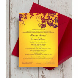 Yellow & Burgundy Indian / Asian Wedding Invitation