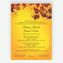 Yellow & Burgundy Indian / Asian Wedding Invitation