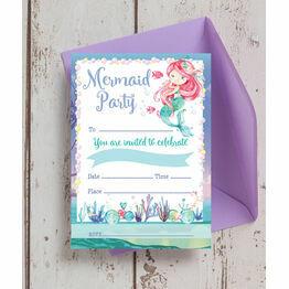 Pack of 10 Mermaid Invitations