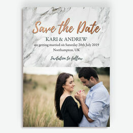 Marble & Copper Photo Save the Date