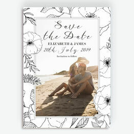 Illustrated Flowers Photo Save the Date