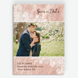 Blush Pink & Lace Photo Save the Date
