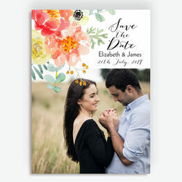 Coral & Blush Flowers Photo Save the Date