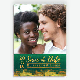 Emerald & Gold Photo Save the Date