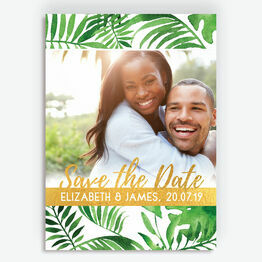 Tropical Leaves Photo Save the Date