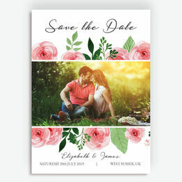 Pink Flowers Photo Save the Date