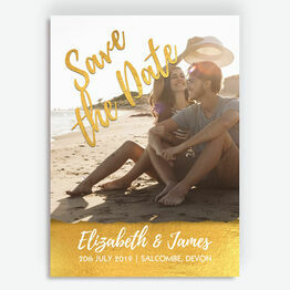 Faux Foil Gold Photo Save the Date