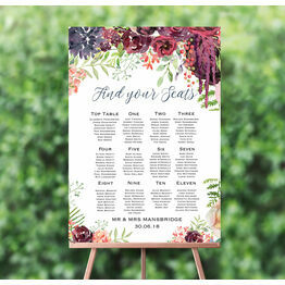 Burgundy Watercolour Floral Wedding Seating Plan