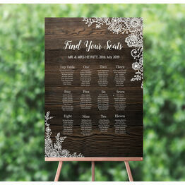 Rustic Wood & Lace Wedding Seating Plan