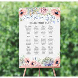 Country Flowers Wedding Seating Plan