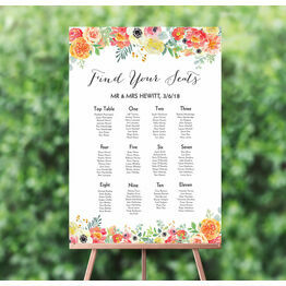 Coral & Blush Flowers Wedding Seating Plan
