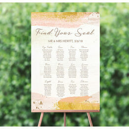Blush & Gold Brush Strokes Wedding Seating Plan