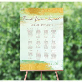 Mint Green & Gold Brush Strokes Wedding Seating Plan