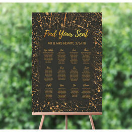 Black & Gold Abstract Wedding Seating Plan