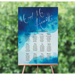 Blue Watercolour Wedding Seating Plan