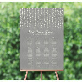 Dove Grey Fairy Lights Wedding Seating Plan