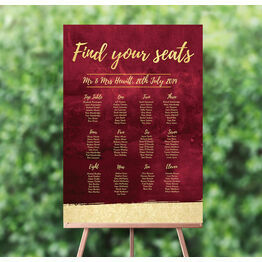 Burgundy & Gold Wedding Seating Plan