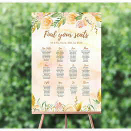 Gold Floral Wedding Seating Plan