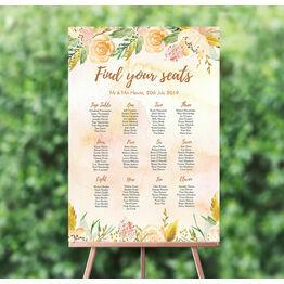 Gold Floral Wedding Seating Plan