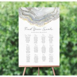 Agate Crystal Silver Grey Wedding Seating Plan