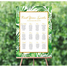 Tropical Leaves Wedding Seating Plan