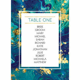 Teal & Gold Ink Table Plan Card