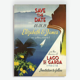 Vintage Style Lake Garda Italy Save the Date
