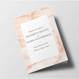 Blush Marble Wedding Order of Service Booklet