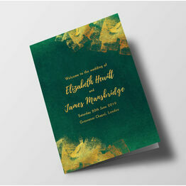 Emerald & Gold Wedding Order of Service Booklet