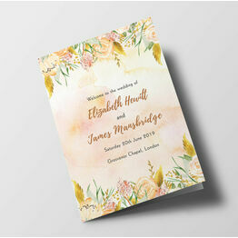Gold Floral Wedding Order of Service Booklet