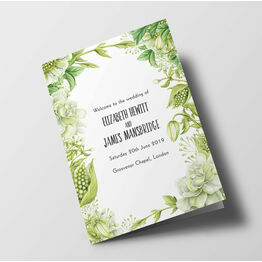 Greenery Wedding Order of Service Booklet