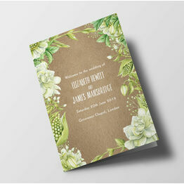 Rustic Greenery Wedding Order of Service Booklet