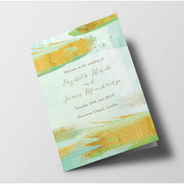 Mint Green & Gold Wedding Order of Service Booklet