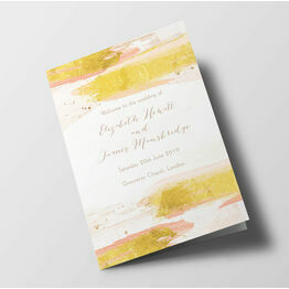 Blush Pink & Gold Wedding Order of Service Booklet