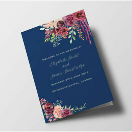 Navy & Burgundy Floral Wedding Order of Service Booklet