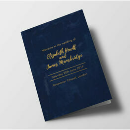 Navy & Gold Wedding Order of Service Booklet