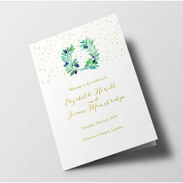 Olive Wreath Wedding Order of Service Booklet